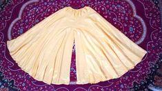 Umbrella cut full gher palazzo/ long divided skirt/gharara/ cutting and stitching. Clothing Patterns, Dress Patterns, Sewing Patterns, Fashion Sewing, Diy Fashion, Gharara Designs, Churidar Designs, Crochet Baby Pants, Salwar Pattern