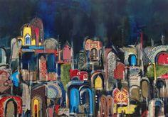 Mixed media on canvas, Marrakech Souk, 70x100 cm, Framed, £1150