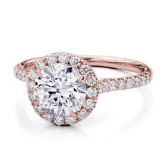 French Cut Halo For Round Diamond in Rose Gold - R2960