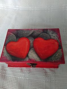 Jewelry Storage Box Hand Painted Jewellery Box Decoupage Two Hearts Romantic Box Love Red Hearts Painted Jewelry Boxes, Decoupage Box, Red Hearts, Jewelry Storage, Jewellery Box, Red And Grey, Love Is All, Mall, Best Gifts