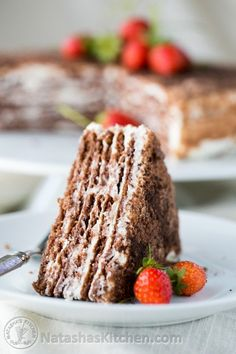 This chocolate Spartak is now a family favorite and extended family favorite. Ma… This chocolate Spartak is now a family favorite and extended family favorite. Making it takes some effort, but it's oh-so worth it! Enjoy it! Ukrainian Recipes, Russian Recipes, Gourmet Recipes, Cake Recipes, Dessert Recipes, Cupcakes, Cupcake Cakes, Napoleons Recipe, Napoleon Cake