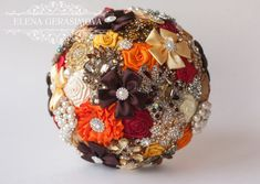 Hey, I found this really awesome Etsy listing at https://www.etsy.com/listing/209747150/sale-brooch-bouquet-orange-autumn-fabric