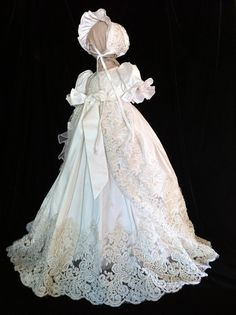 """Oriana V with coat """"Angela West Christening gown with French Alencon lace.Size TBD acessories included"""