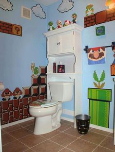 """Super Mario Bathroom - Hubby said """"This makes me want to poop. So I can stare at the wall all day."""""""