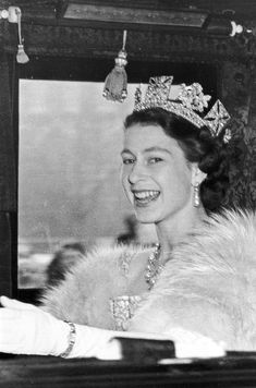 """the-british-royal-family-deacti: """" November Queen Elizabeth II on the way to Westminster to preside at the first State Opening of Parliament ceremony since her accession to the throne. Royal Tiaras, Royal Jewels, Crown Jewels, Windsor, English Royal Family, British Royal Families, Eduardo Viii, Young Queen Elizabeth, Elizabeth Ii"""
