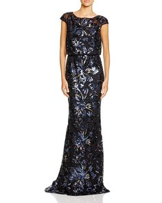 Not one to skimp on the alluring details, Badgley Mischka delivers a sequined blouson gown worthy of triple takes. | Silk/polyester; lining: polyester | Spot clean | Imported | Round neck, illusion ca