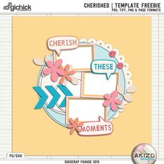 cherished freebie template by akizo designs for digital scrapbooking