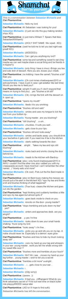 A conversation between Ciel Phantomhive and Sebastian Michaelis