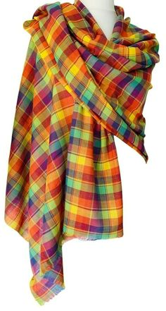 Large lightweight shawl / wrap / scarf in a multicoloured Tartan pattern. Woven in a classic twill weave from pure cotton, a lightweight, soft Cotton Scarves, Tartan Plaid Scarf, Pashmina Wrap, Green Wrap, Tartan Pattern, Free Uk, 100 Pure, Fair Trade, Scarfs
