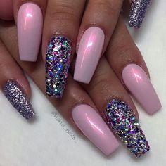 46 Attractive Nail Art Designs For Coffin Nails 2018 – French Nails Glitter, Fancy Nails, Bling Nails, Swag Nails, Pink Sparkle Nails, Purple And Pink Nails, Chunky Glitter Nails, Fabulous Nails, Gorgeous Nails