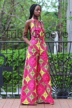 Pink African Ankara Wax Print Wide Leg Jumpsuit at Diyanu African Dresses For Women, African Wear, African Attire, African Women, 1960s Fashion, Girl Fashion, African Jumpsuit, Girl Outfits, Fashion Outfits