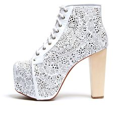 Cold Feet by Jeffrey Campbell 'Lita Laser Cut', white From The Plus Size Fashion Community On www.VintageAndCurvy.com