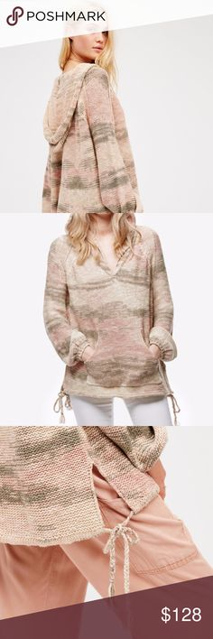 """Free People Snowcone Oversized Pullover Sweater New with tags!  """"Easy and effortless, this multi-color pullover hoodie features vented sides with braided drawstring ties at the hem. Elastic at the sleeve cuffs.""""  67% Cotton 33% Linen Hand Wash Cold Import Length: 26""""  Sleeve Length: 28.5""""  Bust: 49"""" Free People Sweaters"""