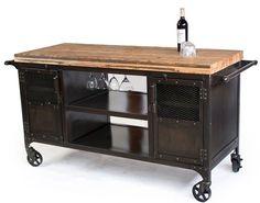 Custom Made Industrial Home Bar Reclaimed Wood, Coffee Cart, Mini Bar, Wine Cabinet, Kitchen Island, Bar Cart