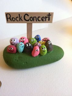 Rock concert rocks- painted stones-painted pebbles-custom concerts available-jazz-blues-classical-painted rocks-any color or style Stone Crafts, Rock Crafts, Fun Crafts, Diy And Crafts, Crafts For Kids, Arts And Crafts, Pebble Painting, Pebble Art, Stone Painting