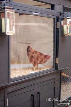 To help the coop air out and to give us a better view of all the girls during the day I made pull out screens for both the upper and lower doors.  The coop is directly across from my dining room window, so when we're sitting down to dinner we can watch the girls  put themselves to bed at 7:30 every night.  I love the screens.  They're one of those things I didn't intend to make, but ended up whipping up right at the end of the project.