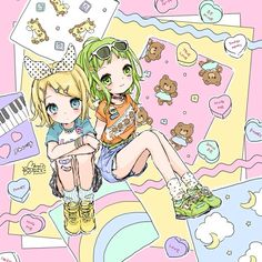 Kawaii Rin and Gumi (Vocaloid). Artwork by manamoko (fancysurprise on Tumblr).