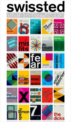 Swissted is an ongoing project by graphic designer Mike Joyce, owner of Stereotype design in New York city. Drawing from his love of punk rock and swiss modernism, two movements that have absolutely nothing to do with one another, Mike has redesigned vintage punk, hardcore, and indie rock show flyers into international typographic style posters. Each design is set in berthold akzidenz grotesk medium, all lowercase.