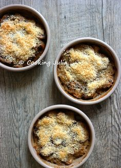 COOKING JULIA: PETITS GRATINS DE CHAMPIGNONS DE PARIS AU PARMESAN Table D Hote, Parmesan, Oatmeal, Cooking, Breakfast, Dessert, Food, Diy, Mushroom Casserole
