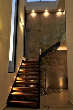 Modern White-Oak and Steel Staircase Home Stairs Design, Interior Stairs, Dream Home Design, Modern House Design, Home Interior Design, Staircase Lighting Ideas, Flur Design, Modern Stairs, House Stairs