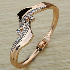 cool  Fashion Women Jewelry Charm Gold Plated Crystal Bracelet Simple Bangle Gift - For Sale View more at http://shipperscentral.com/wp/product/fashion-women-jewelry-charm-gold-plated-crystal-bracelet-simple-bangle-gift-for-sale-2/