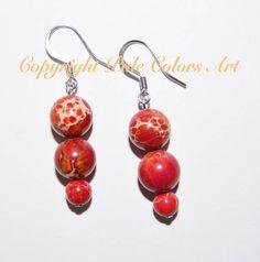 Red Stone Earrings,10mm Jasper Earrings,Red Sea Sediment Imperial Jasper Stone Earrings, Stainless Steel Hypoallergenic Non-Tarnish Earwires