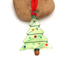 Fused Glass Christmas Tree Ornament  Suncatcher by buffaloartglass