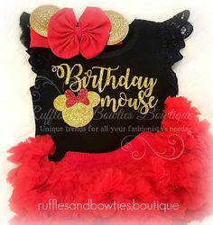 Made just for your Birthday Mouse, this Minnie Mouse inspired birthday shirt is one of a kind. With sparkling gold details, and vintage lace angel wing sleeves, this bodysuit is the perfect addition t