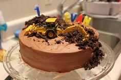Digger in action birthday cake
