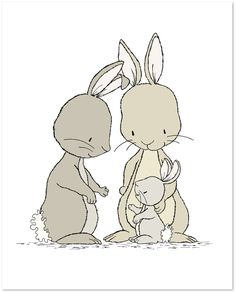 Bunny Nursery Art Bunnies Family of Three by SweetMelodyDesigns
