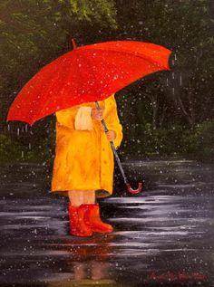 [IMG] Umbrella Painting, Rain Painting, Umbrella Art, Under My Umbrella, Oil Painting On Canvas, Girl In Rain, Umbrellas Parasols, Walking In The Rain, Rock Art
