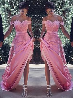 Customized Admirable Pink Prom Dress Sheath Off Shoulder Lace Prom Dress 3c910990b