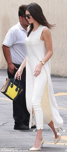 Kendall Jenner emulates half-sister Kim Kardashian in white ensemble #dailymail