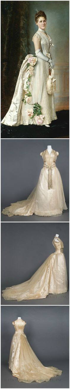 "Evening gown, by Mrs. Arnold, 1888-90. Silk and cotton. Collection of FIDM Museum & Galleries. Accompanying painting: ""Portrait of an Elegant Lady,"" by François Brunery, 1889, oil on canvas, 82 1/2 x 42 1/4 in. (209.5 x 107.3 cm.), Sotheby's."