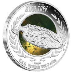 NEW Star Trek – U.S Voyager 2015 Silver Proof Coin. Each coin weighs 1 Troy Ounce of Fine Silver. These coins are … Silver Coins For Sale, Gold And Silver Coins, Silver Stars, New Star Trek, Star Wars, Star Trek Universe, Star Trek Ships, Star Trek Voyager, Commemorative Coins