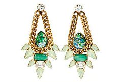 Emerald Opal Pear Swing Earrings Elizabeth Cole