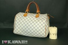 Authentic Louis Vuitton Damier Azur Speedy 30 Bag Hand Purse Boston Free Ship!