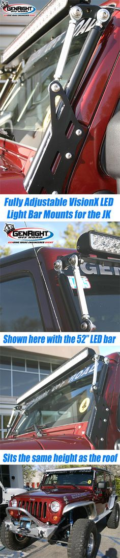 This is the GenRight LED Light Bar Mount for the Jeep JK wind sheild. Use it to mount anything and adjust the light angle after installation.  http://www.genright.com/ProductInfo.aspx?productid=BKT8052