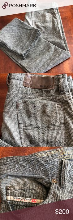 Diesel DNA textured jeans For sale is a super rare pair of Diesel DNA textured jeans. 32W 34L. These are awesome they have a lined texture to them and kinda of a sea foam green color. They are just awesome paid over 375. Diesel Jeans Slim Straight