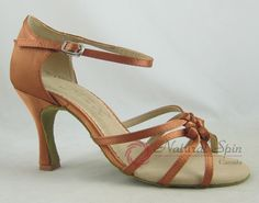 Natural Spin Basic Latin Shoes(Open Toe):  L1117-08_DrBrown2CS