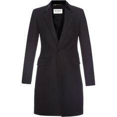 Saint Laurent Chesterfield wool coat (2,360 CAD) ❤ liked on Polyvore featuring outerwear, coats, black, chesterfield coat, yves saint laurent, wool coat and woolen coat