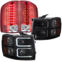 Chevy Silverado 2007-2013 Black Smoked DRL Projector Headlights and Red LED Tail…