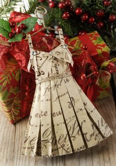 Script Document Paper Dress Ornament Tree Topper Christmas Holiday