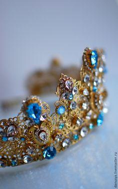 """Купить Корона по мотивам украшений DOLCE&GABBANA """"Аквамарин"""" - корона, корона для невесты, корона для фотосессии"""