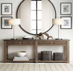 Restoration Hardware console table - Liked @ Homescapes Home Staging www.homescapes-sd.com #contemporary #design