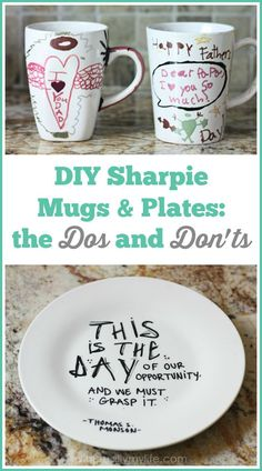DIY Sharpie Plates & Mugs: How-tos, How-Dos & How-Don'ts We tried our hand at DIY Sharpie mugs and plates after doing a bit of online research. Here's what we learned--the dos and don'ts. Sharpie Coffee Mugs, Sharpie Plates, Sharpie Paint, Sharpies On Mugs, Sharpie Artwork, Sharpie Markers, Mug Crafts, Sharpie Crafts, Diy Sharpie Mug