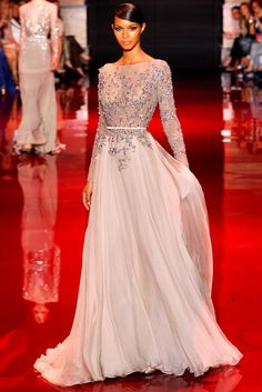 Elie Saab. Light shade of gray chiffong... my fav