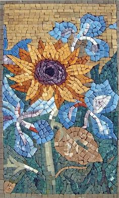 Contemporary Sunflower a modern yet exquisite sunflower mosaic wall art fully handcrfated using natural stones and hand-cut tiles. This mosaic makes an eye-catching centerpiece in your backyard or patio. Mosaic Tile Art, Mosaic Vase, Mosaic Artwork, Pebble Mosaic, Mosaic Crafts, Mosaic Projects, Mosaic Designs, Mosaic Patterns, Stone Decoration