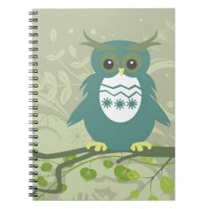 Blue Green Owl on Tree Limb Spiral Note Book