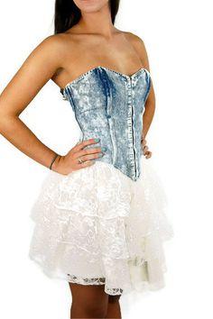 1980s denim and lace, acid washed, corset top, ballerina dress, tutu skirt, strapless, cropped jacket, $79.00, via Etsy.